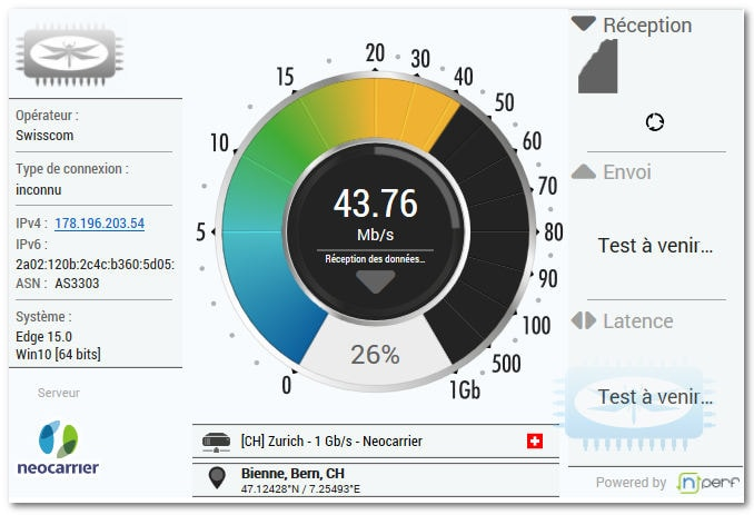 News Speedtest de libellules.ch