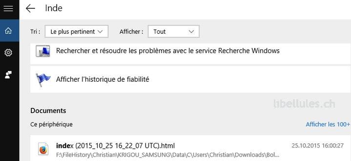 Rechercher sur Windows 10