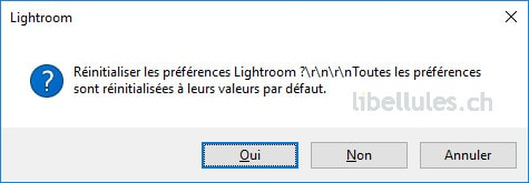 Réinitialiser les préférences Lightroom