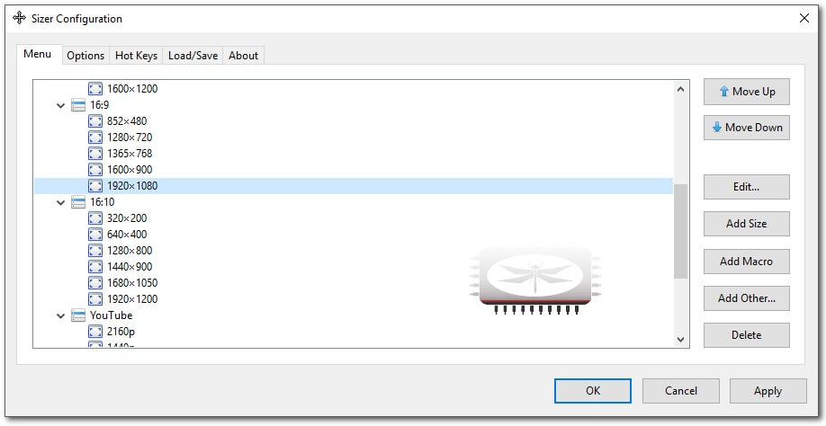 Sizer permet de reconfigurer la taille des applications sur votre écran selon les dimensions de votre choix