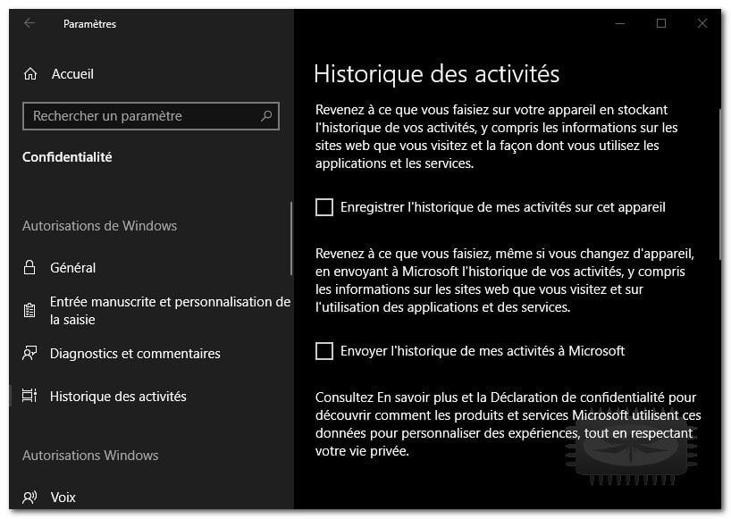 Windows 10 - Supprimer l'historique de vos activités