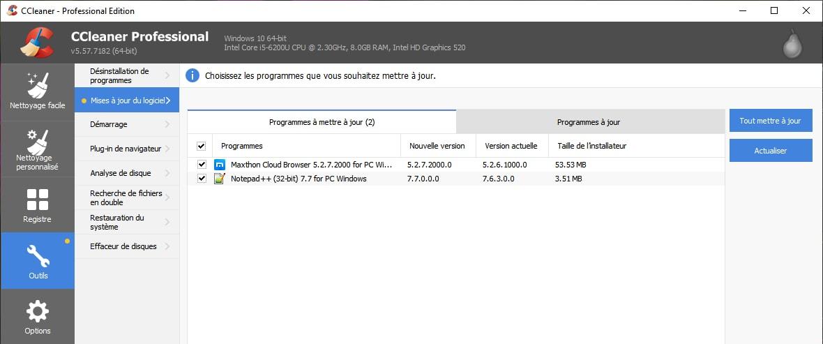 La version payante de CCleaner permet désormais de mettre à jour les programmes installés sur votre machine