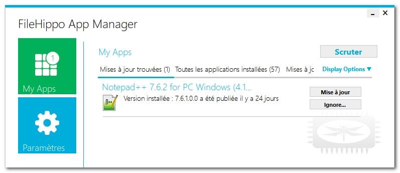 FileHippo App Manager - vous signale les logiciels disposant d'une mise à jour