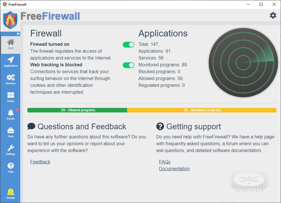 Free Firewall est un pare-feu professionnel complet pour vous protéger des dangers d'Internet