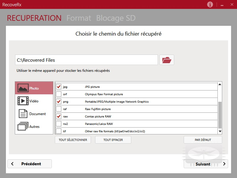 RecoveRx - pour rechercher au plus profond d'un périphérique de stockage les traces de fichiers effacés