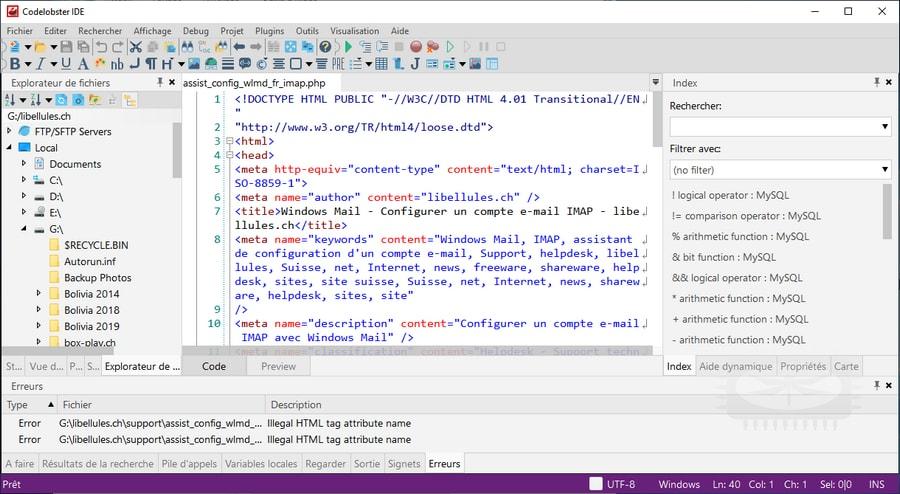 CodeLobster IDE - éditeur de texte destiné à l'édition de code PHP, HTML, CSS... - éditeur de texte destiné à l'édition de code PHP, HTML, CSS...