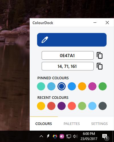 ColourDock capte la couleur de n'importe quel pixel sur votre écran