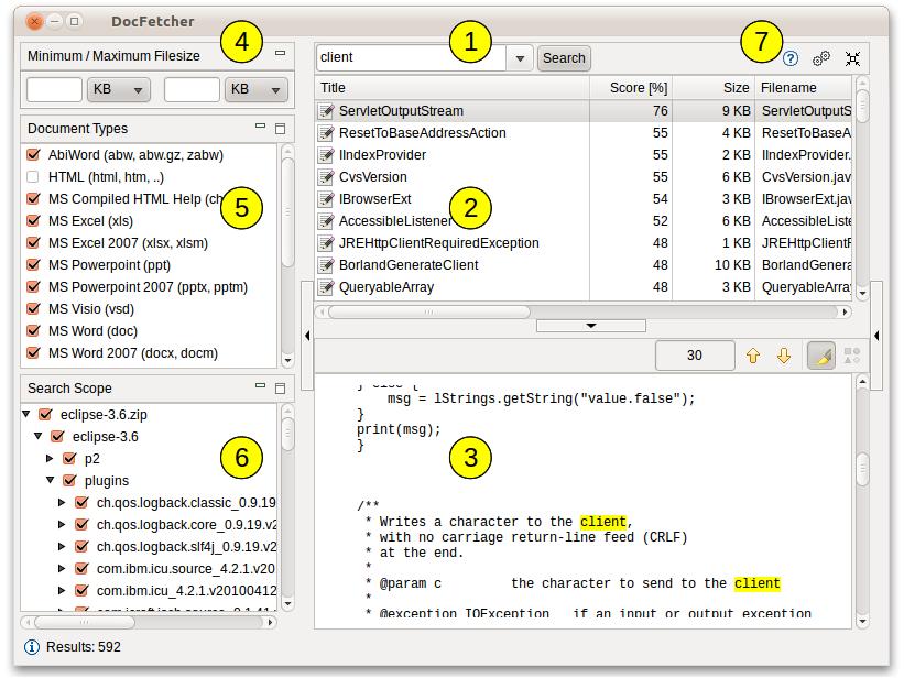 DocFetcher - une application  pour la recherche de contenu local sur votre PC