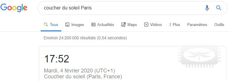 Google pour connaître l'heure du coucher de soleil