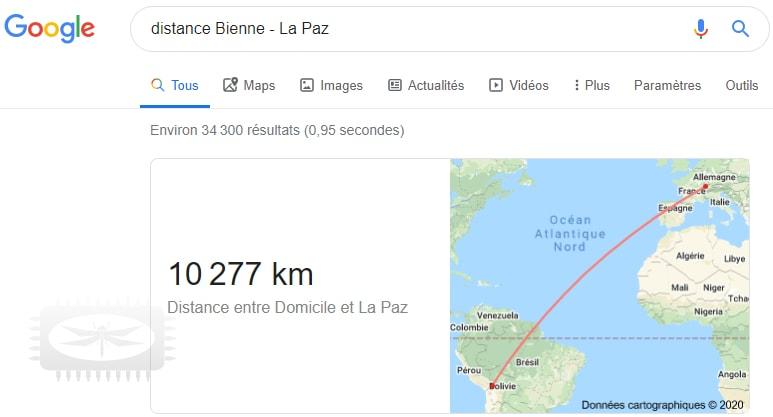 Calculez la distance d'un point A à un point B