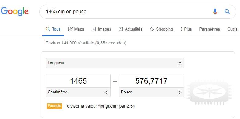 Google comme convertisseur d'unités de mesure