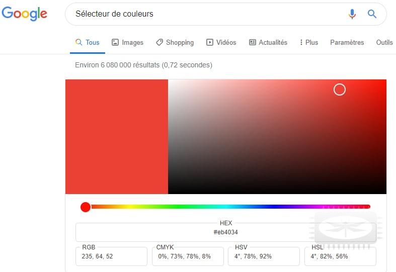 Connaître le code hexadécimal d'une couleur