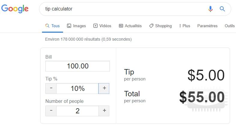 Calculez un pourboire grâce à Google