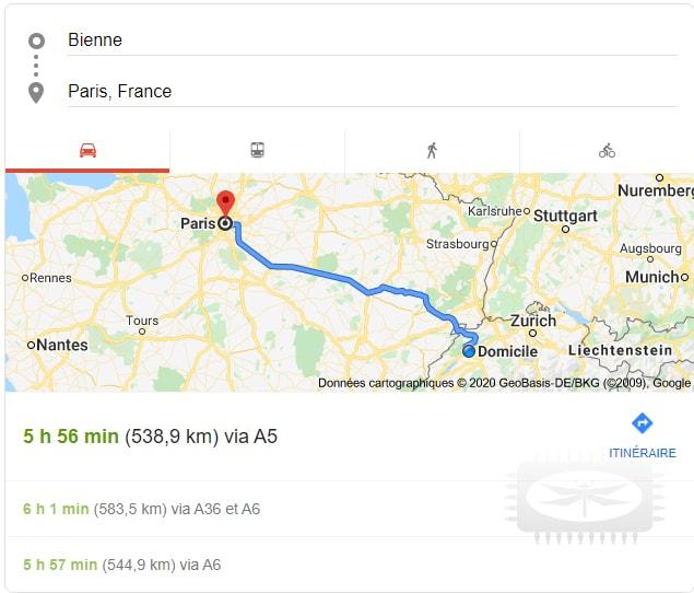 Comment aller du point A au point B ou trouver des informations de voyage et de distance