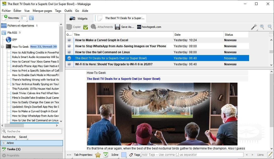 Makagiga - gestionnaire de tâches, lecteur RSS, bloc-notes, widgets, visualiseur d'image