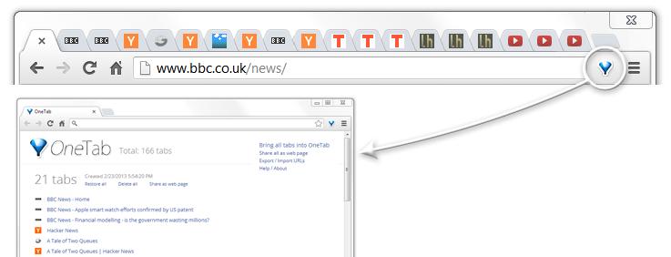 OneTab pour Chrome - économisez jusqu'à 95% de mémoire et réduisez l'encombrement des onglets