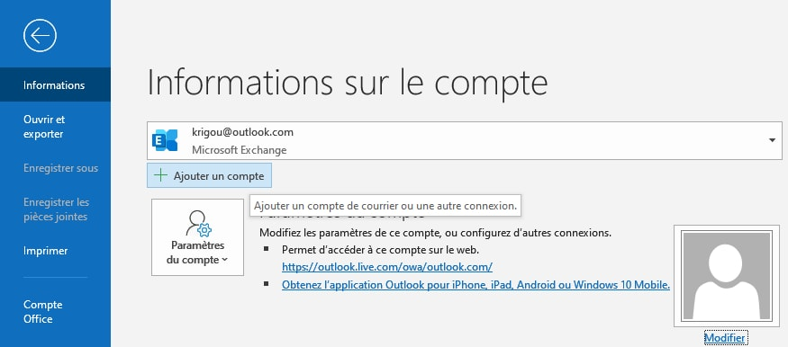 Configurer un compte Gmail dans Outlook Office 365