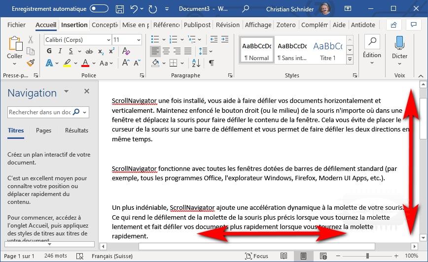 ScrollNavigator - faites défiler vos documents horizontalement et verticalement