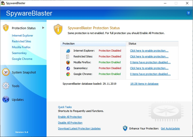 SpywareBlaster - Empêchez l'installation de logiciels espions et autres logiciels potentiellement indésirables