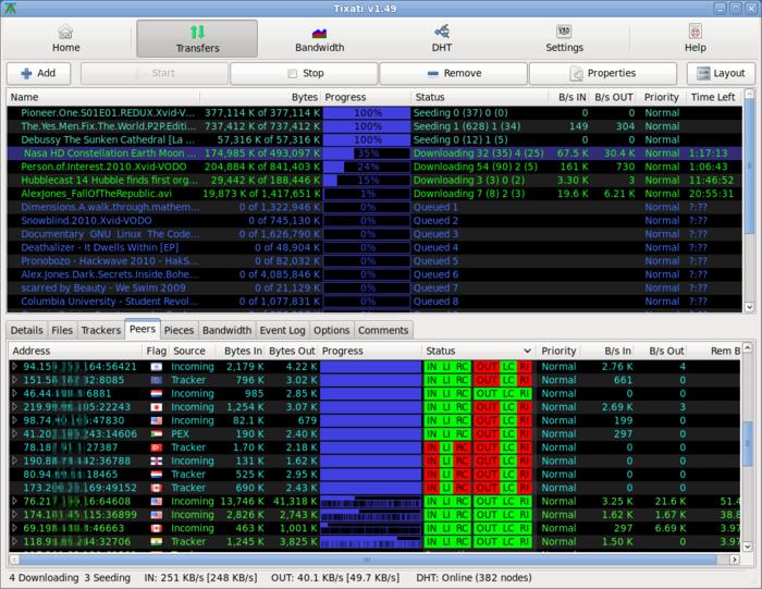 Tixati, logiciel BitTorrent pour Windows et Linux