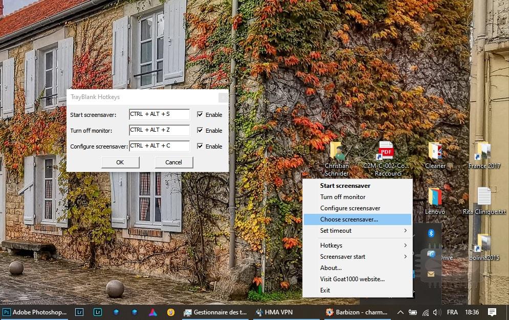 TrayBlank petit utilitaire qui vous permet de déclencher rapidement l'économiseur d'écran