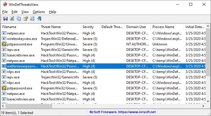 WinDefThreatsView - outil pour Windows 10 qui affiche la liste de toutes les menaces détectées par Windows Defender Antivirus