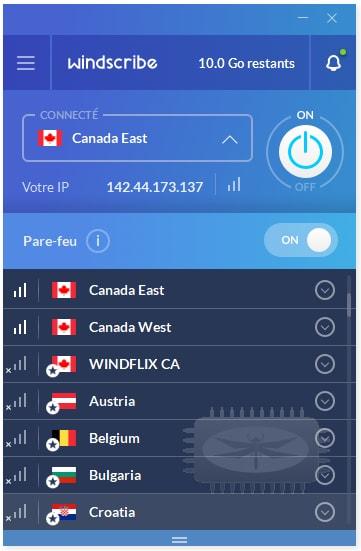 Windscribe - un client VPN gratuit avec 10 Go de données par mois