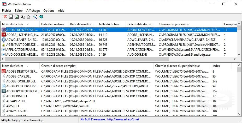 WinPrefetchView - Analysez les fichiers Prefetch stockés dans votre système