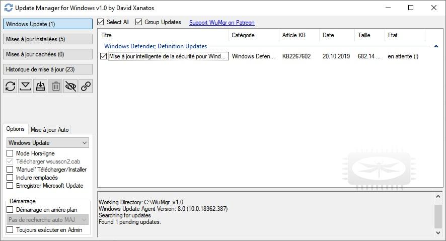 WuMgr (Update Manager for Windows) est un outil pour mieux gérer les mises à jour de Windows 10