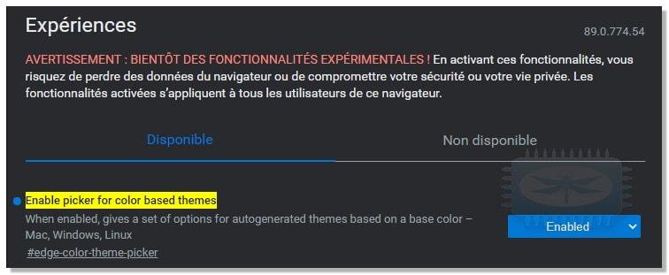 Des couleurs supplémentaires pour le thème par défaut de Edge