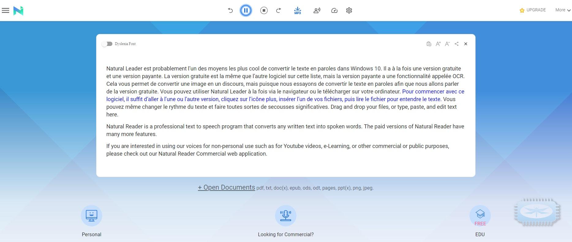 NaturalReader ou comment convertir du texte en language parlé dans Windows 10