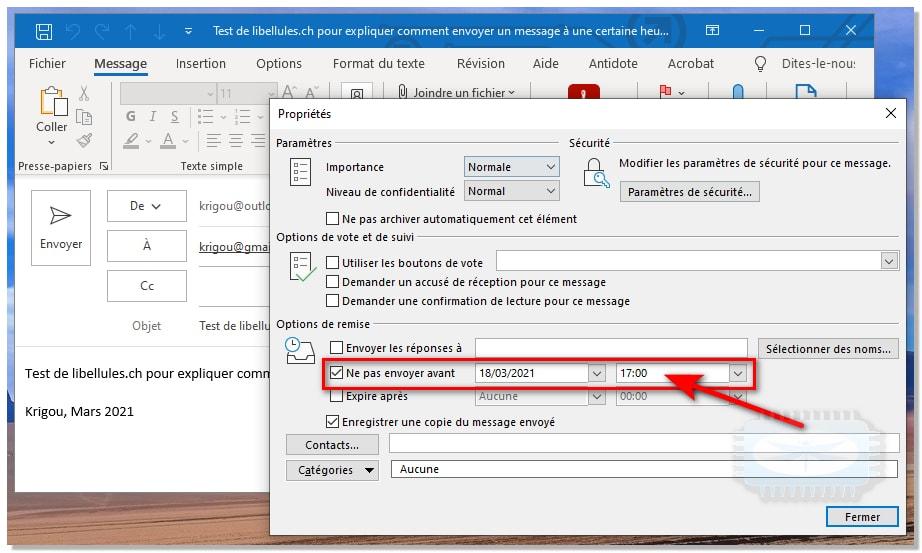Retarder ou planifier l'envoi de courriers électroniques