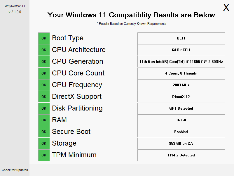 WhyNotWin11 - analyseur de PC pour installer Windows 11