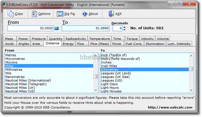 ESBUnitConv, utilitaire permettant la conversion entre 582 unités dans 21 catégories