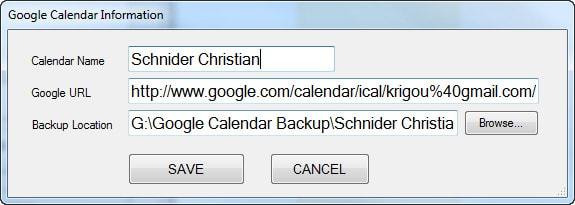 Google Calendar Backup Utility