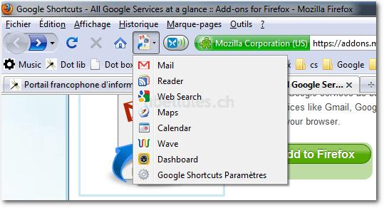 Google Shortcuts pour Firefox