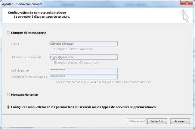 Ajouter un compte Gmail dans Outlook 2010