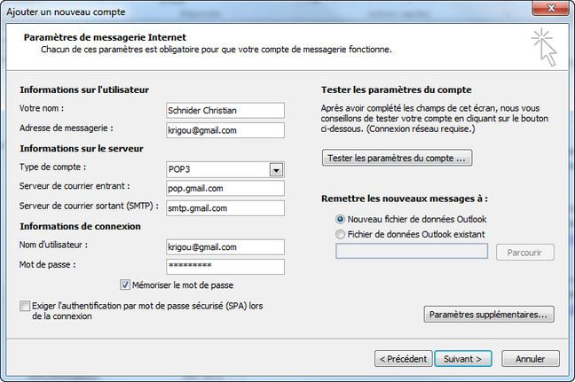 how to set gmail in outlook 2010