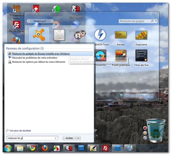 Comment restaurer facilement les gadgets du bureau, installés avec Windows