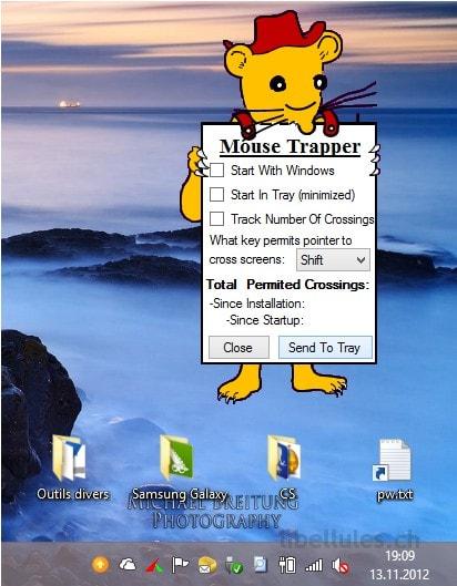 Mouse Trapper - maintient le pointeur de la souris à l'intérieur d'un écran dans une configuration multimoniteur