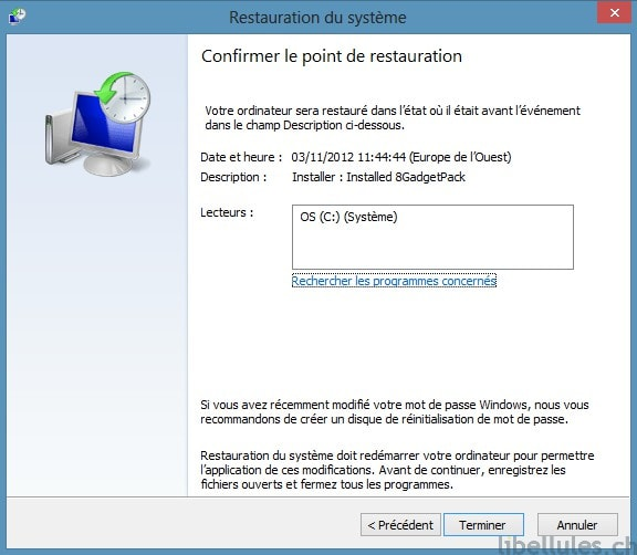 Lancer Restauration Sous Windows