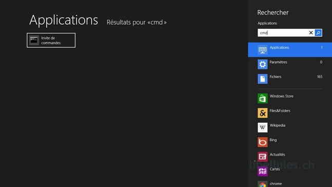 Afficher l'invite de commandes sous Windows 8