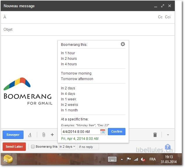 Boomerang pour Gmail