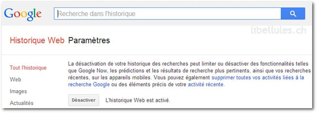 Suppression, gestion de vos recherches sur Google