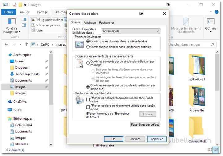 Explorateur de Windows 10 - Accès rapide - Fichiers récents - Préservez votre confidentialité