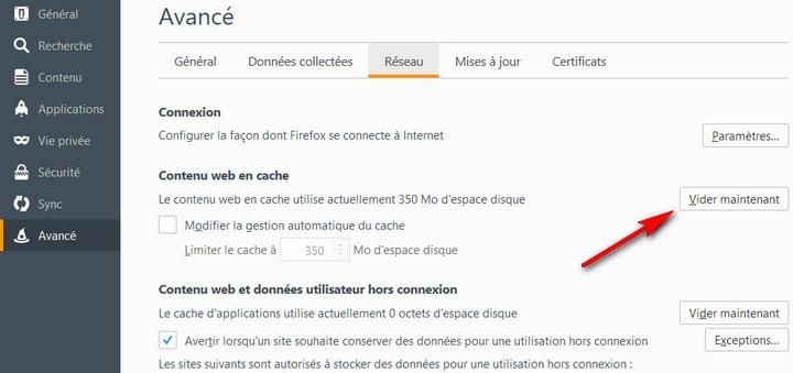 Comment vider le cache de Firefox 38