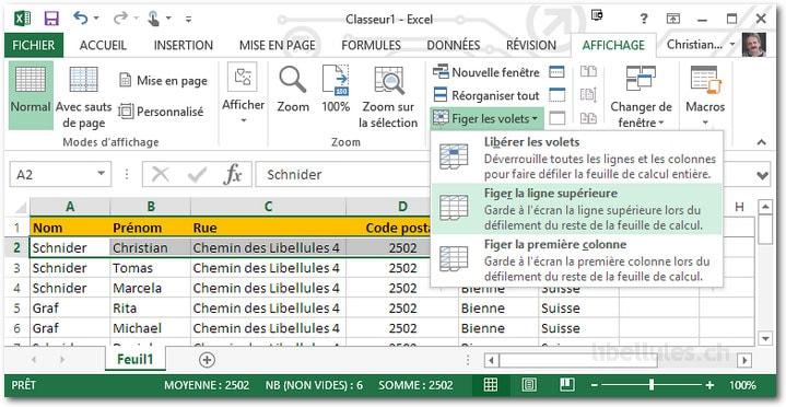 Figer une ligne Excel