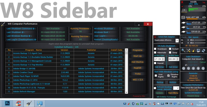 W8 Sidebar