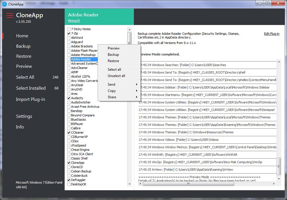 CloneApp - sauvegarde des paramètres de vos applications