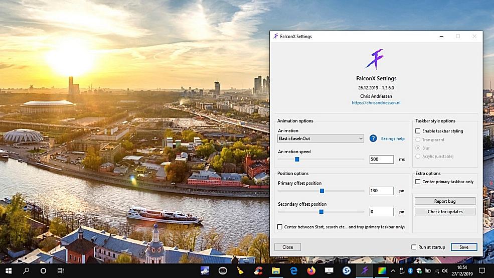FalconX - contrôlez la position des icônes/barre des tâches